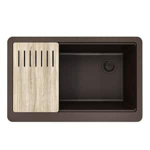 Bellucci MetallTek Farmhouse ApronFront Granite Composite 30 in. Single Bowl Kitchen Sink with Cutting Board in Brown