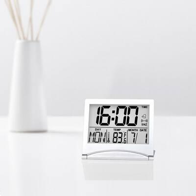 Digital Travel Alarm Clock Foldable LCD Clock Battery Operated