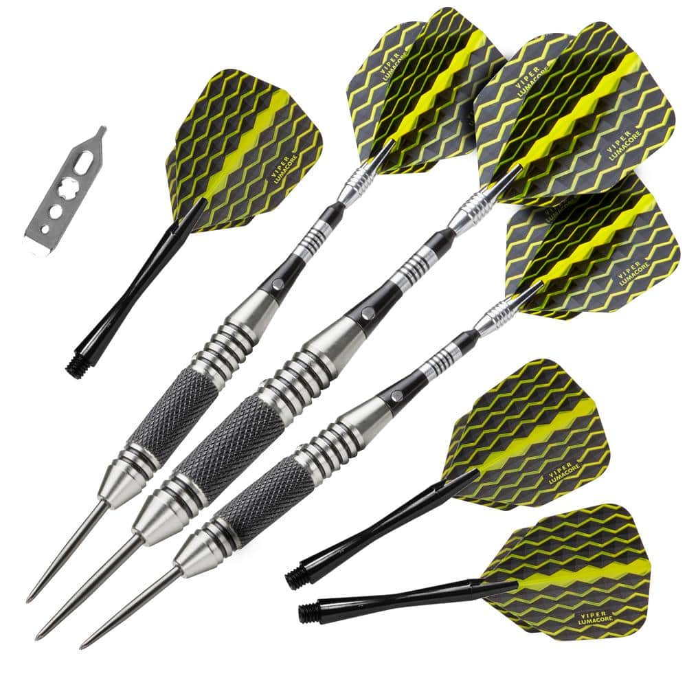 Viper The Freak 22 G Black And Yellow Knurled And Grooved Barrel Steel Tip Darts Set 22 1704 22 The Home Depot
