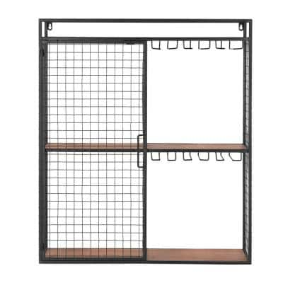 31 in. H x 27 in. W x 8 in. D Black Metal Wall-Mount Shelf with Hanging Wine Glass Storage