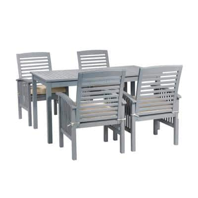Chevron Grey Wash 5-Piece Simple Outdoor Patio Dining Set with Cream Cushions
