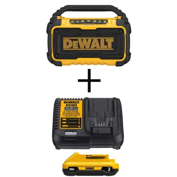 DEWALT 20-Volt MAX Lithium-Ion Bluetooth Speaker (Tool-Only) with 20-Volt MAX 3.0Ah Battery and Charger | The Home Depot