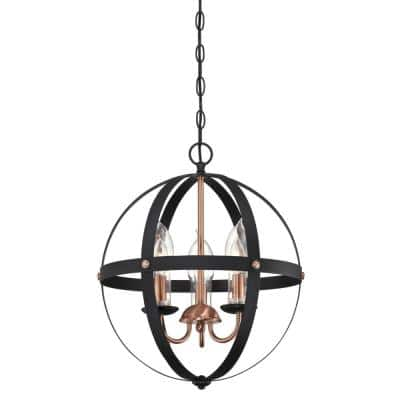 Stella Mira Medium 3-Light Matte Black with Washed Copper Accents Outdoor Hanging Chandelier