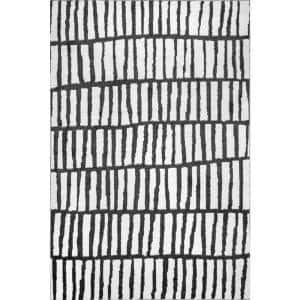 Quinlee Abstract Striped Black And White 5 ft. x 8 ft. Area Rug