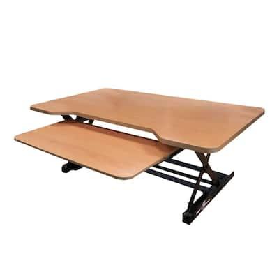 35 in. Medium, Beech Height Adjustable Standing Desk Riser with Sliding Keyboard Tray