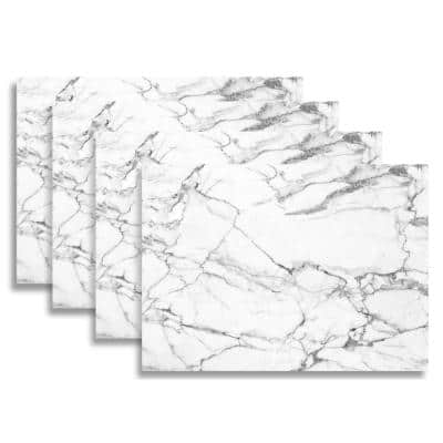 White and Grey Marble 18 in. W x 13 in. L Polypropylene Placemat Set (4-Pack)