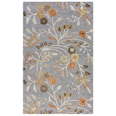 Milan Gray 8 ft. x 10 ft. Floral Wool/Viscose Area Rug