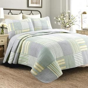 Tranquil Stripes 3-Piece Square Patchwork Green Yellow Blue Cotton King Quilt Bedding Set