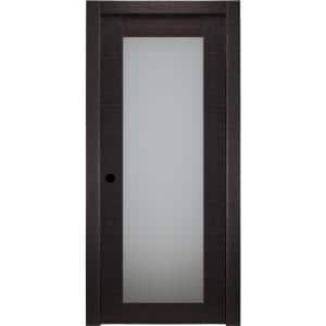 30 in. x 80 in. Avanti 207 Black Apricot Right-Hand Solid Core Wood 1-Lite Frosted Glass Single Prehung Interior Door