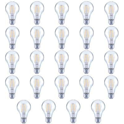 40-Watt Equivalent A19 Clear Glass Vintage Decorative Edison Filament Dimmable LED Light Bulb Daylight (24-Pack)