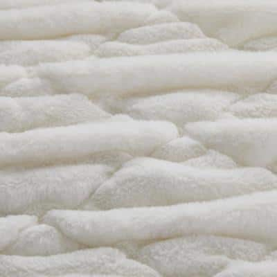 Faux Fur Ruched Ivory Solid Throw Blanket