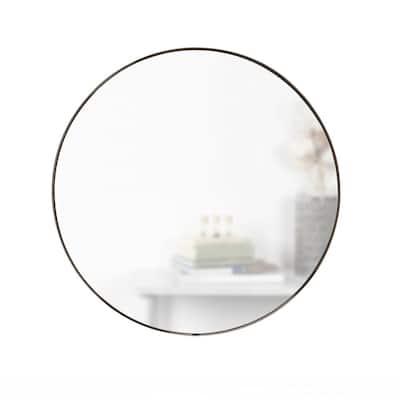 Hub Round Contemporary Mirror Metallic Titanium (34 in. H x 34 in. W)