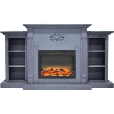 Sanoma 72 in. Electric Fireplace with Enhanced Log Display in Blue