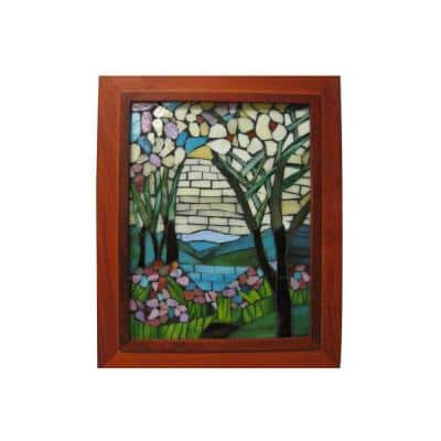 Springdale 10 in. H Magnolia Iris Mosaic Art Glass Wall Panel