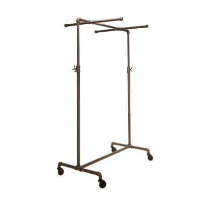 Pipeline Anthracite Gray Metal Adjustable Clothes Rack (41 in. W x 72 in. H)