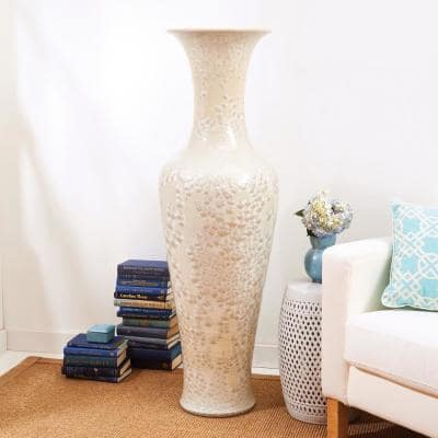 55 in. High Long Necked Ivory Colored Porcelain Vase with Mother of Pearl Effect