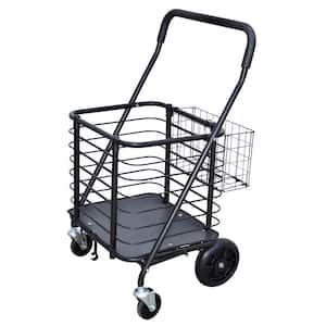 Heavy-Duty Steel Shopping Cart with Accessory Basket in Black