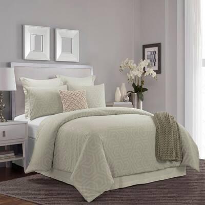 Seville 3-Piece Sage Cotton Queen Comforter Set