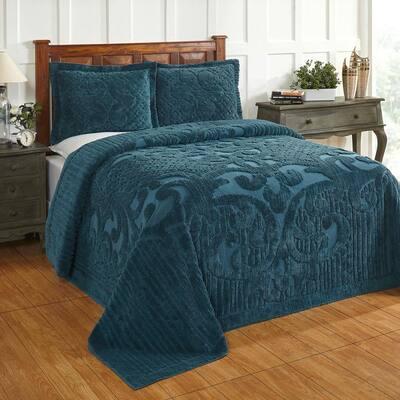 Ashton 3-Piece 100% Cotton Teal Queen Medallion Design Bedspread Coverlet Set