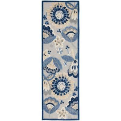 Aloha Blue/Grey 2 ft. x 6 ft. Floral Contemporary Indoor/Outdoor Runner Rug