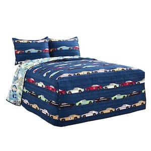 Race Cars Bedspread Navy 3Pc Set Full