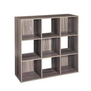 36 in. H x 36 in. W x 12 in. D Grey Wood 9-Cube Storage Organizer
