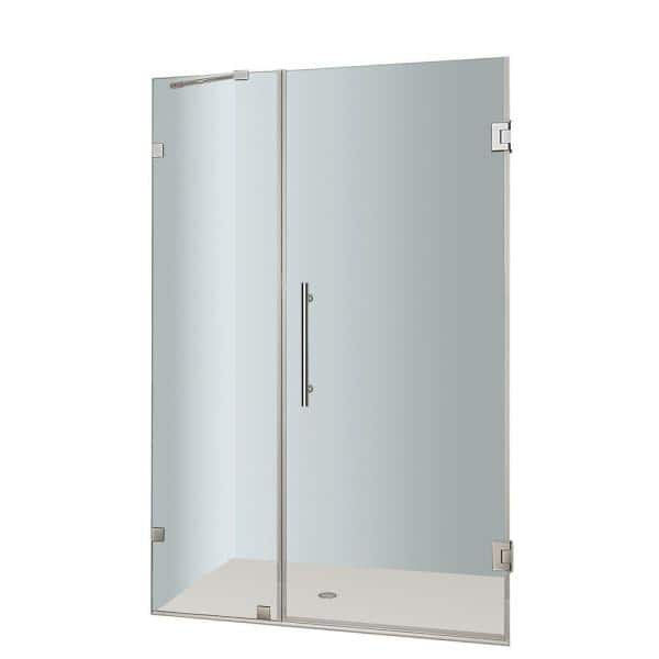 Aston Nautis 40 In X 72 In Frameless Hinged Shower Door In Stainless Steel With Clear Glass Sdr985 Ss 40 10 The Home Depot
