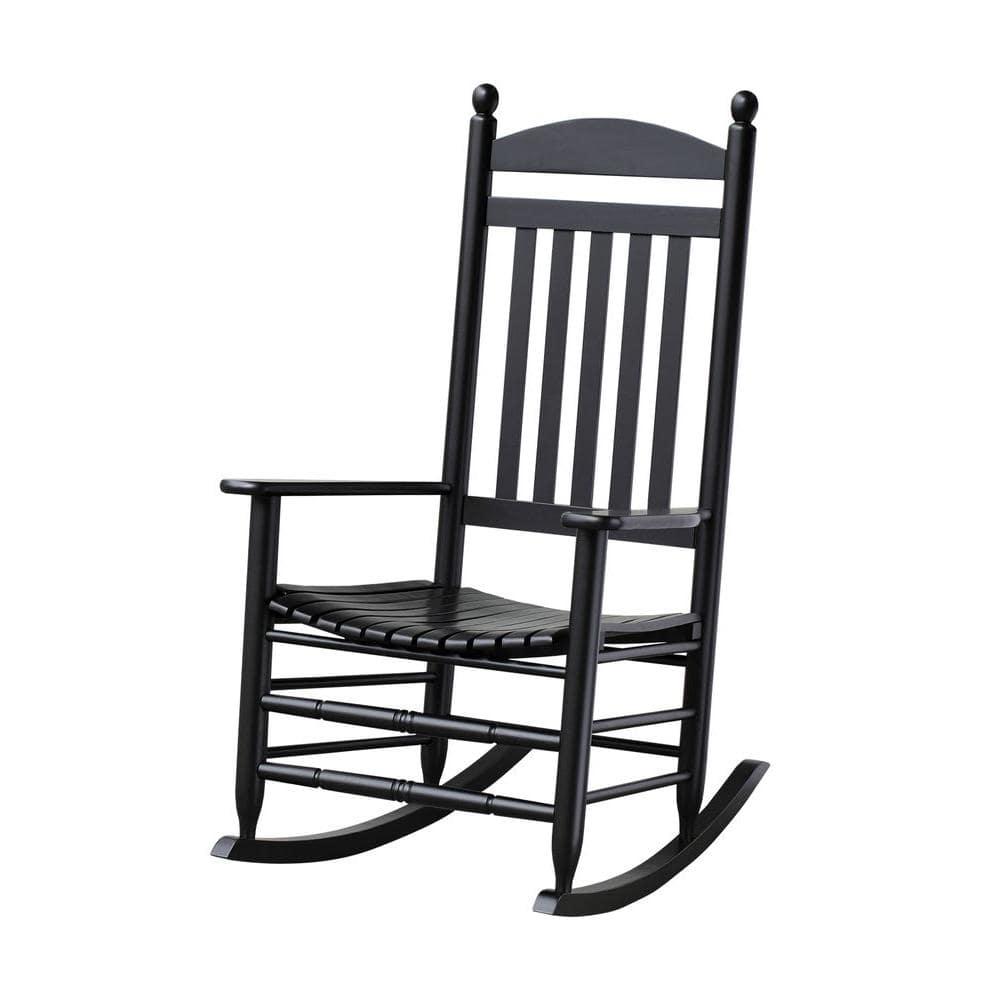 Bradley Black Slat Patio Rocking Chair, Outdoor Wood Slat Rocking Chair Black