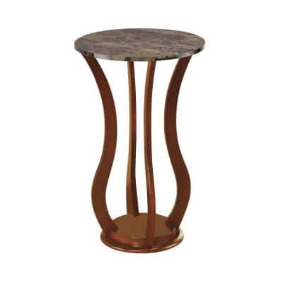 Transitional Brown Wooden Plant Stand with Faux Marble Top