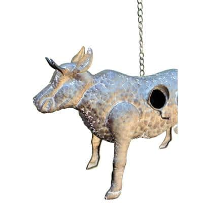 Gray Galvanized Hanging Animal Cow Birdhouse