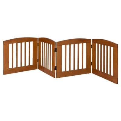 Ruffluv 24 in. H Wood 4-Panel Expansion Chestnut Pet Gate