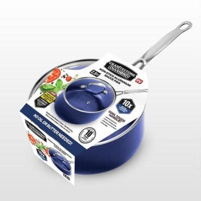 Classic Blue 2.5 qt. Aluminum Ultra-Durable Non-Stick Diamond Infused Saucepan with Glass Lid