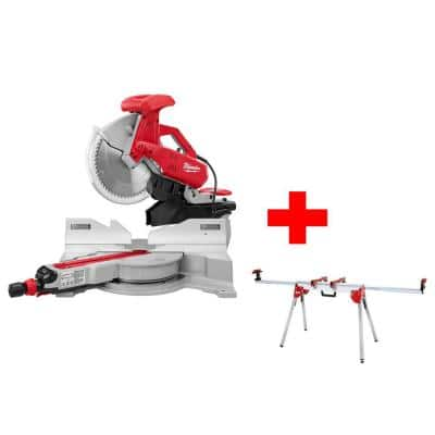 12 in. Sliding Dual Bevel Miter Saw with Folding Miter Saw Stand