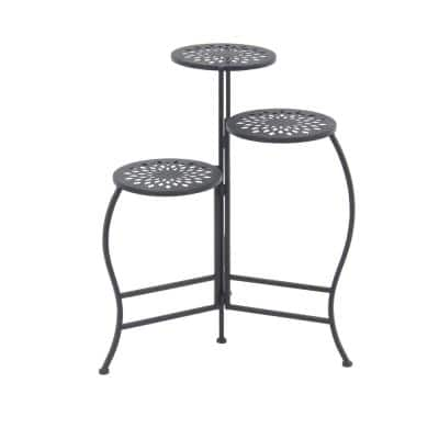 Modern 24 in. x 20 in. Black 3-Tier Folding Plant Stand
