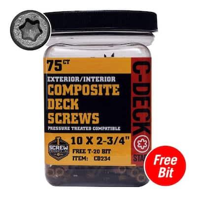 #10 x 2-3/4 in. Star Drive Self-Countersinking Flat Head ACQ Compatible Desert Bronze Composite Deck Screws (75-Piece)