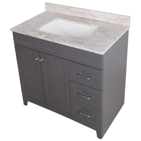 Home Decorators Collection Thornbriar 37 In W X 39 In H Bathroom Vanity In Cement With Stone Effects Vanity Top In Winter Mist With White Sink Tb36p2v2 Ct The Home Depot