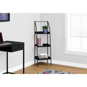 48 in. Black Faux Wood 3-shelf Standard Bookcase with Open Back