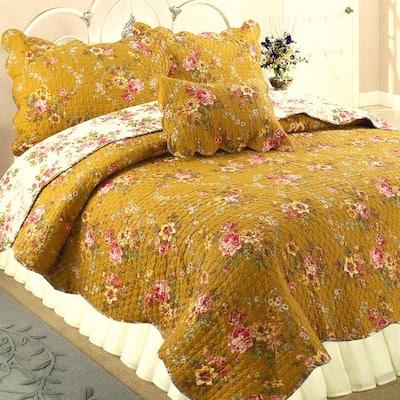 Vintage Floral Blooms Chintz 3-Piece Mustard Yellow Pink Camellia Garden Cotton King Quilt Bedding Set