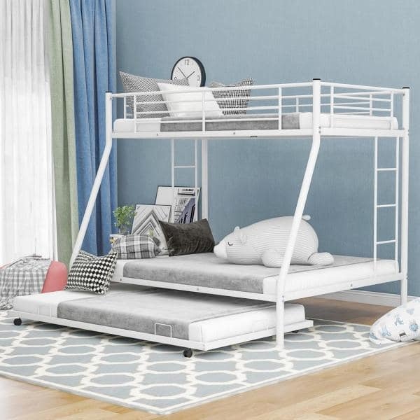 Harper Bright Designs White Twin Over Full Metal Bunk Bed With Twin Size Trundle Mf194424aak The Home Depot