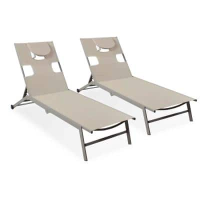 Ostrich Chatam Taupe All-Weather Adjustable Aluminum Chaise Beach Chair (2-pack)