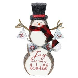 Joy to the World Snowman with LEDs Garden Statue