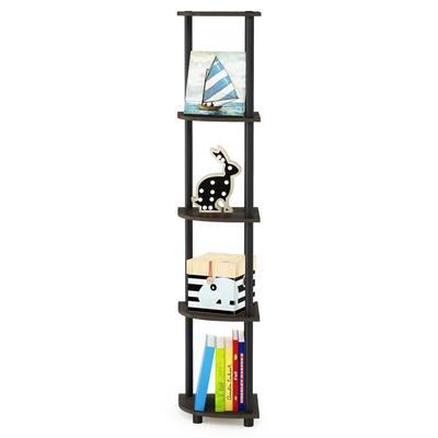 57.7 in. Black/Dark Brown Plastic 5-shelf Corner Bookcase with Open Storage