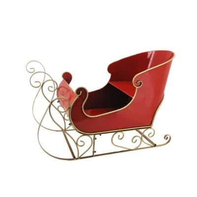 25.3 in. Tall Antique Red Holiday Sleigh Decoration