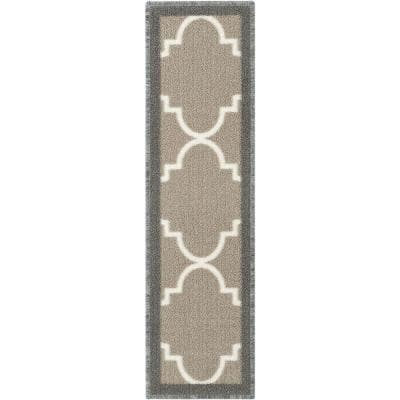 Kings Court Brooklyn Trellis Grey Modern Lattice Rubber Back Non-Skid 9 in. x 31 in. Stair Tread Cover (Set of 7)