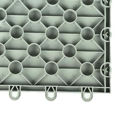 Court Floor Flat Top Light Gray 12-1/8 in. x 12-1/8 in. x 5/8 in. Interlocking Modular Floor Tile (Case of 24)