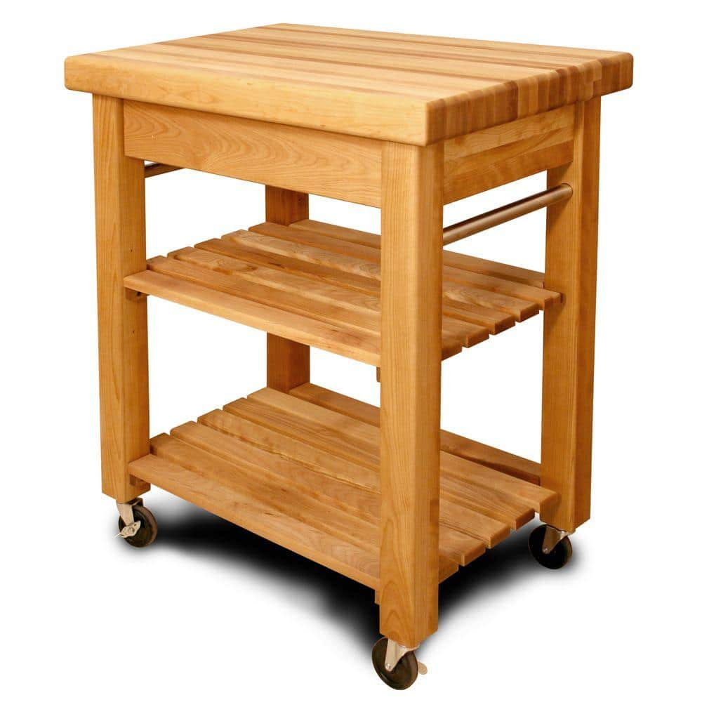 Catskill Craftsmen French Country Natural Wood Kitchen Cart With Storage 1470 The Home Depot