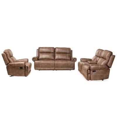Buckley 3-Piece Light Brown and Black Living Room Set