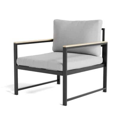 Meg Metal Outdoor Accent Chair with Light Gray Cushion
