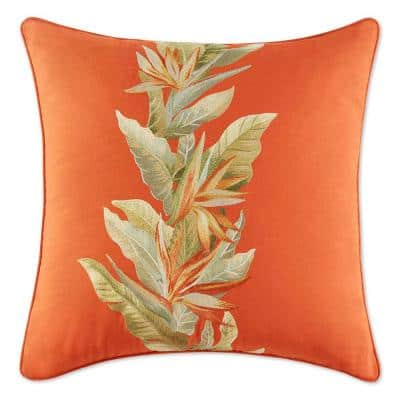 Birds of Paradise Red 20 in. x 20 in. Cotton Decorative Pillow