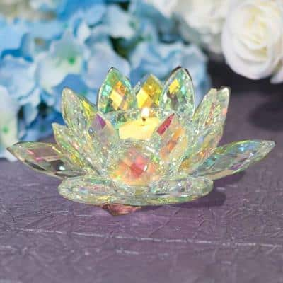 Multicolor Crystal Lotus Votive Tealight Candle Holder